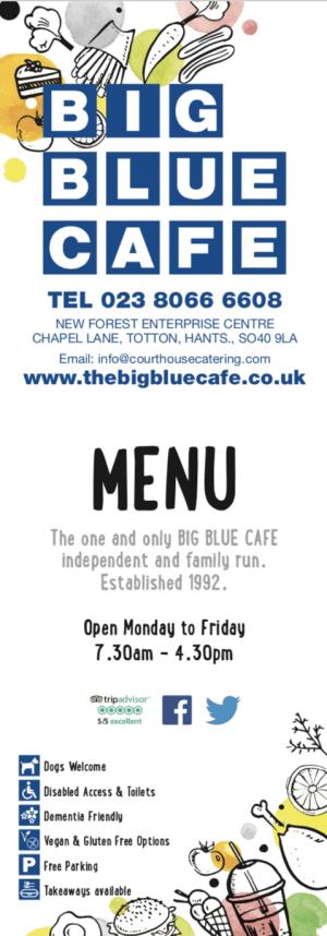 Big Blue Cafe Menu